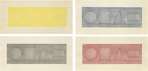 four part combinations of six geometric figures in four colors i set of 4 by sol lewitt