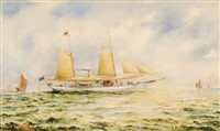 the australian yacht kingfisher in asian waters by algernon yockney