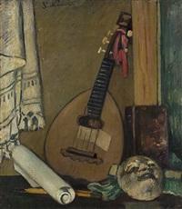 natura morta con mandolino by piero marussig
