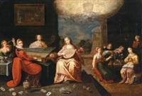 elegante gesellschaft auf einer schlossterrasse - das gleichnis von den klugen und törichten jungfrauen by pieter lisaert