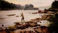 man fly fishing by john walter scott