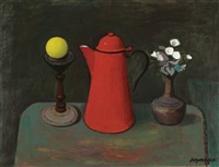 still life with a red coffee pot by alberto morrocco