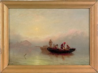coastal scene with fishermen by j. heyl raser