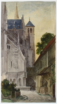 kirche und übergang zu nebengebäuden by heinrich woldemar rau