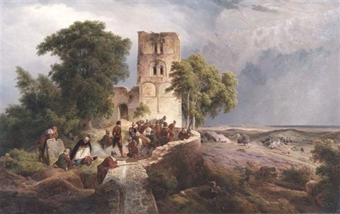 an extensive landscape with soldiers by a ruined tower awaiting an attack by karl friedrich lessing