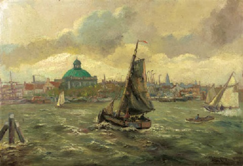 volendam fishermen in the harbour of amsterdam by hans wacker elsen
