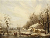 a winter landscape with figures on a frozen river by a house by cornelis petrus t' hoen