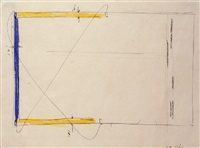 drawing for blue and yellow corridor piece by bruce nauman