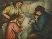 a family at a table by peggy dodds