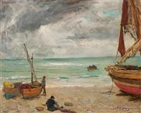 pescadores en la playa by alexandre de cabanyes