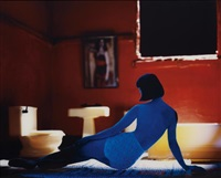the long house (red bathroom/ blue figure) by laurie simmons