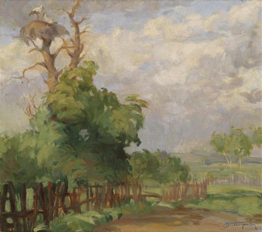 landschaft mit einem storchennest am baum by jan autengruber