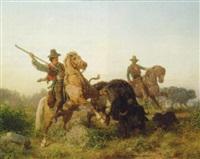 herding water buffalo by edouard van den bosch