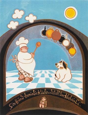 Ein Hund kam in die Küche und stahl dem Koch ein Ei by Gottfried ...