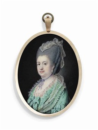 a lady, possibly caroline-mathilde (1751-1775), queen of denmark, in lace-bordered bright green dress with bows at sleeves and corsage, thin purple ribbon tied around her neck, drop-pearl earrings by samuel cotes