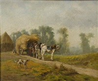 haycart with dog by daniel merlin