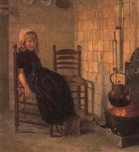 pige siddende ved ildstedet by paul hoecker