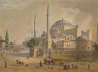 views of the aya sofia (pair) by caspard fossati