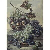 still life with a bowl of fruits and grapes spilling over a ledge by ignacz gaal