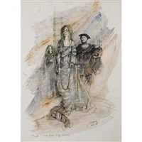 costume designs for mephistopheles, marguerite and faust for gounod's faust by jose varona
