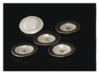 small dishes with a letter kichi (five-pieces set) by kitaoji rosanjin