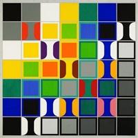 49 quadrate über schwarz, grau und weiß (mit vier schwarzen ecken) by heinz kreutz