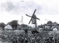 a landscape by the mill of st. michiels, near brugge by florimond (flori-marie) van acker