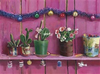 plantas en botes sobre pared rosa by elena climent