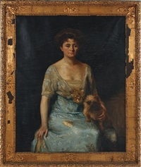 portrait of a lady and lap dog (mrs. hubert baintou) by ivan lindhe