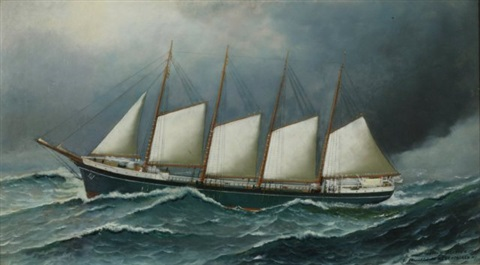four mast schooner in heavy weather by antonio jacobsen