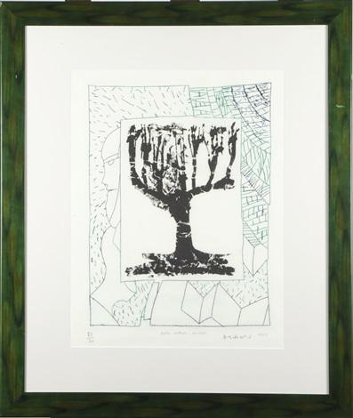 arbre central au vert by pierre alechinsky