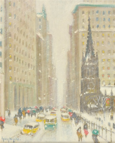 lower broadway in winter by guy carleton wiggins