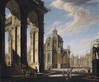 an architectural capriccio with figures conversing in a piazza by jacopo fabris