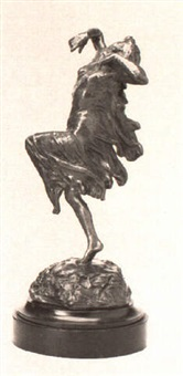 a bronze figure of a modern dancer by lillian baer