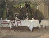 dappled sunlight at the outdoor cafe by ethel maud raeburn