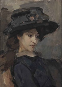 jonge vrouw met hoed: a young lady with a black hat by isaac israels