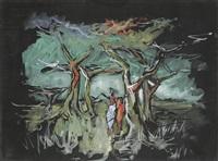 femme dans un paysage by alexander skunder boghossian