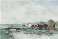 a polder landscape with cows by willem roelofs