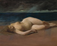 reclining nude on a beach by kenyon c. cox