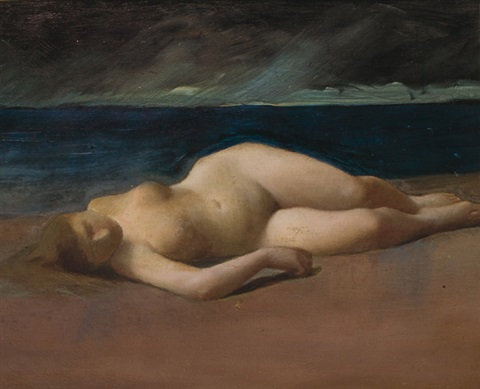 reclining nude on a beach by kenyon c cox