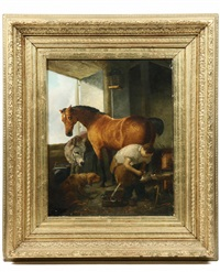 barn interior, smithy shoes a horse while nurro and dog look on (after edwin henry landseer) by henry f. henford