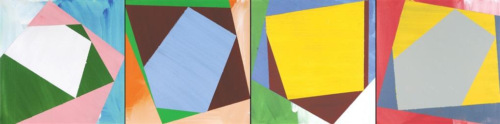 splash swirl (green-red-yellow-blue; set of 4) by lucio pozzi