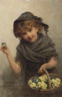 a girl with a basket of primroses by john morgan