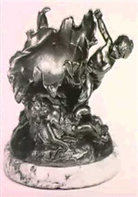 cupids playing around a shell (gilt bronze on a marble base) by louis coustaury