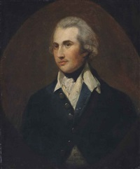 portrait of a gentleman, half-length, in a green coat with a white collar, painted oval by thomas gainsborough