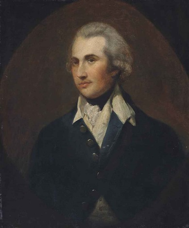 portrait of a gentleman half length in a green coat with a white collar painted oval by thomas gainsborough