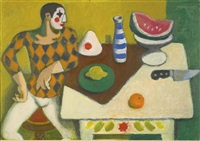still life with clown by alberto morrocco