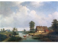 rural river landscape with drover and cattle on a ford, thatched farm houses and figures in the right foreground, figures and distant buildings to the left by louis smets