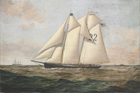 the pilot boat quotwashington 22quot with steamships and a clipper ship in the distance by conrad freitag