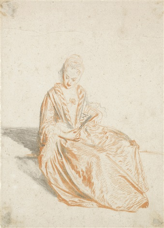 a seated lady holding a fan by jean antoine watteau